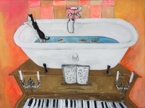 81x60 Baignoire piano orange copie